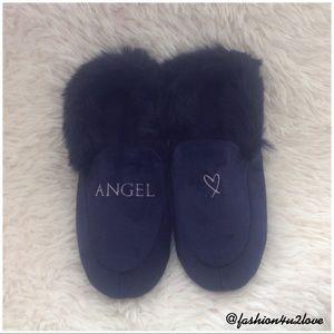 7-8 Victorias Secret VS ANGEL Luxe Velvet Slippers Booties Faux Fur Lined M